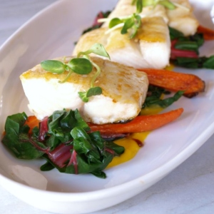 Coconut Glazed Halibut with Butternut Curry Sauce