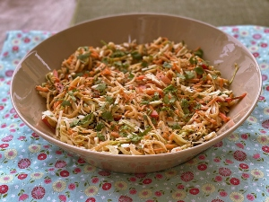 Kohlrabi Cabbage Slaw with Spicy Almond Butter Sauce