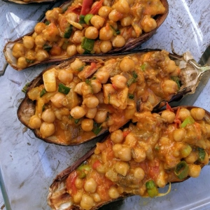 Chickpea Stuffed Eggplant