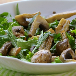 Warm Shiitake and Pine Nut Salad