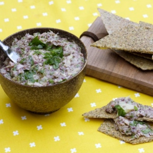White Bean Artichoke Dip with Rosemary Seed Crackers