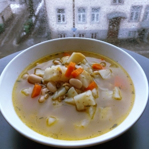 Celeriac and Barley Soup