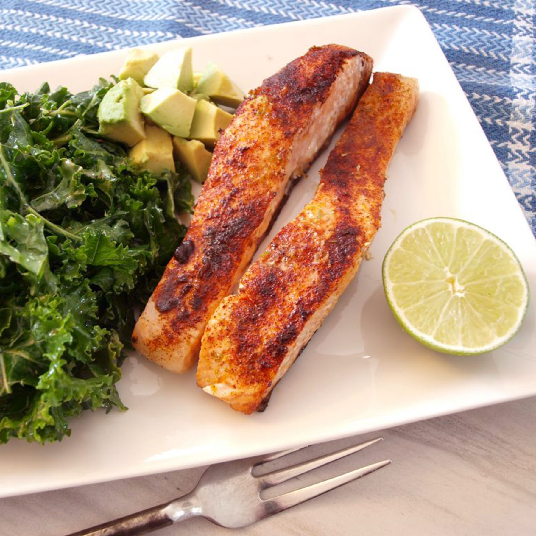 Chipotle Lime Salmon with Massaged Kale