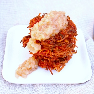 Root Vegetable Latkes with Homemade Apple Pear Sauce