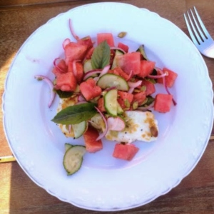 Watermelon Salad with Basil and Halloumi