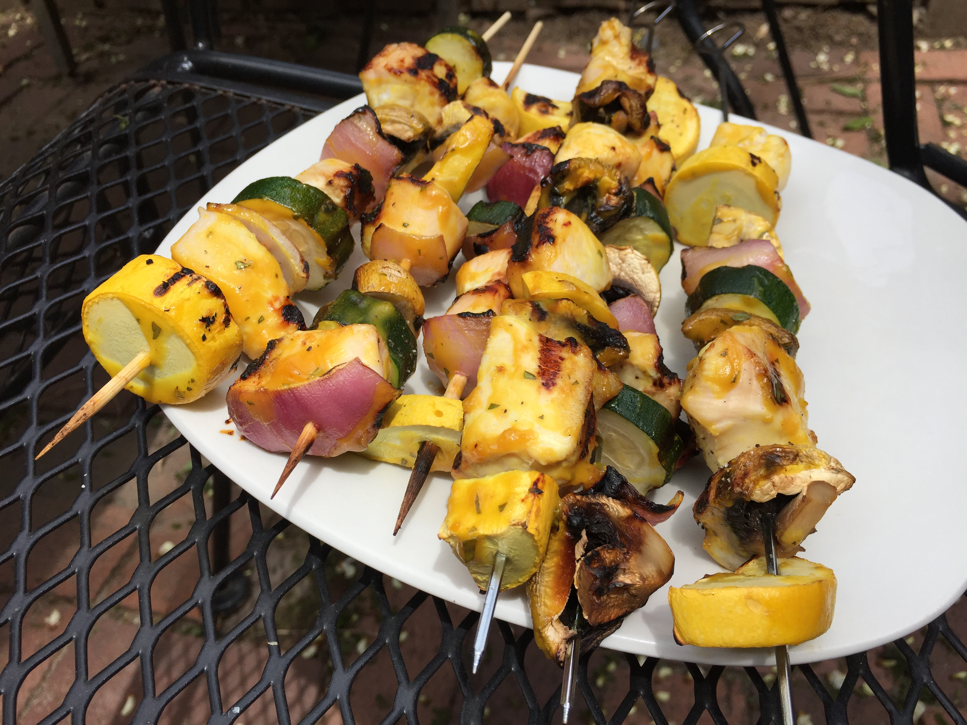 Grilled Veggie and Chicken Kabobs with Honey Thyme Mustard