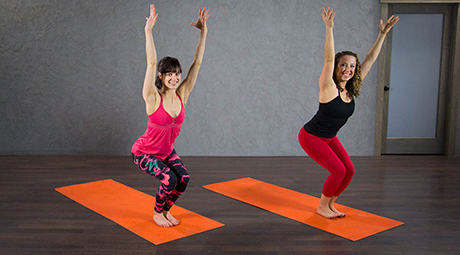 online yoga video and audio classes that build to a peak pose