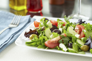 Mediterranean Summer Salad with goat cheese feta